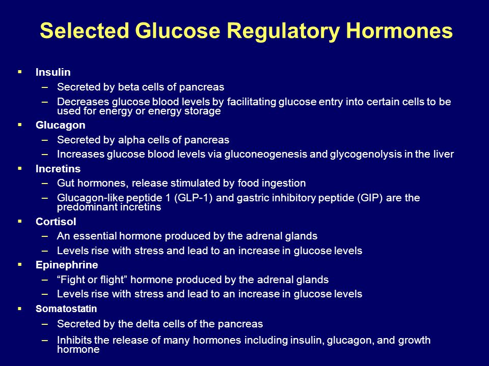 Selected Glucose Regulatory Hormones