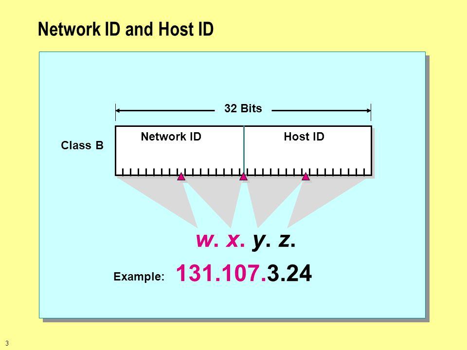 w. x. y. z. 131.107.3.24 Network ID and Host ID Network ID Host ID