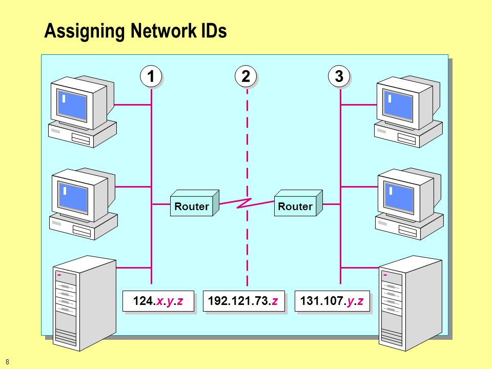 Assigning Network IDs Router 1 2 3 124.x.y.z 192.121.73.z 131.107.y.z