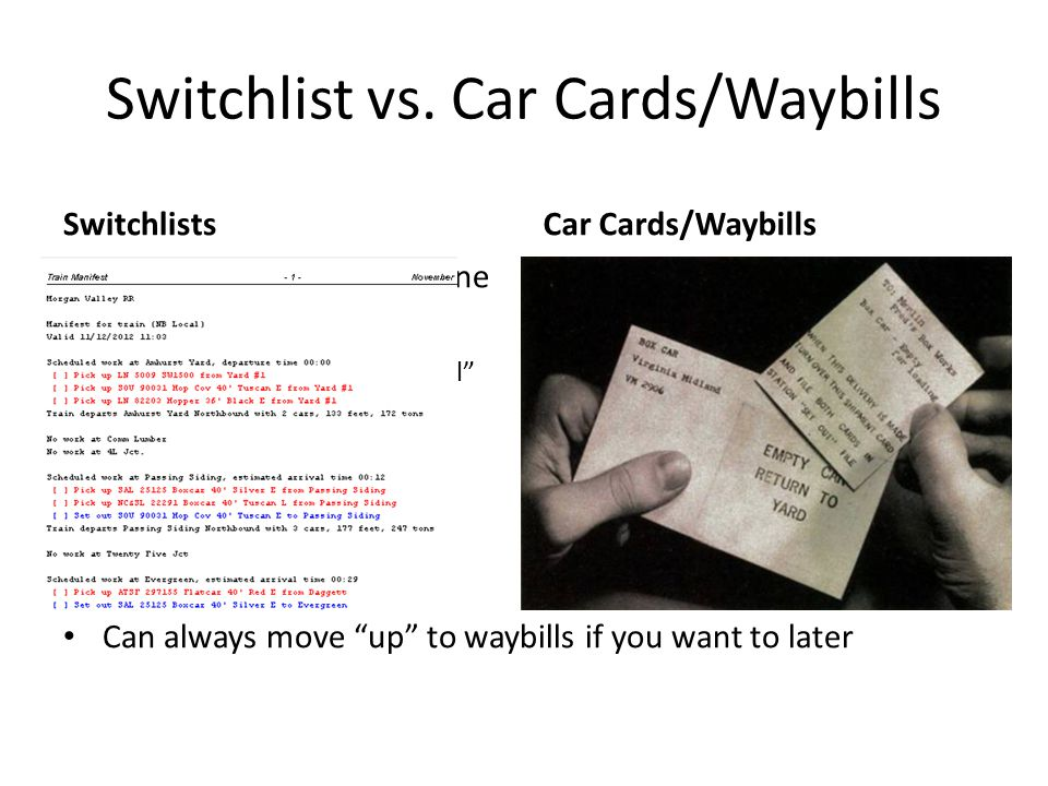 Switchlist vs. Car Cards/Waybills