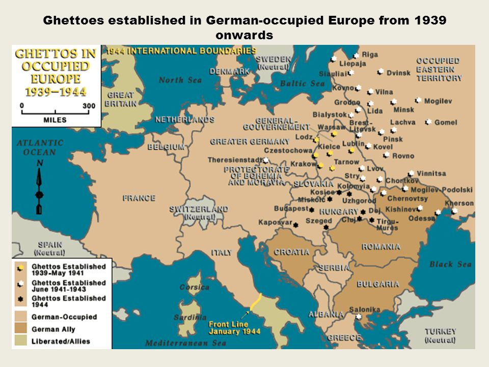 Ghettoes established in German-occupied Europe from 1939 onwards