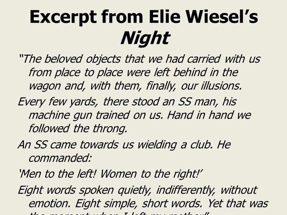 Excerpt from Elie Wiesel's Night