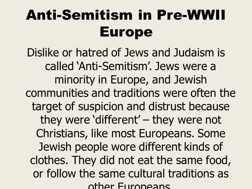 Anti-Semitism in Pre-WWII Europe