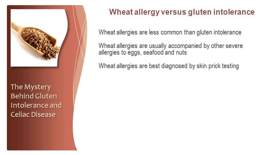 Wheat allergy versus gluten intolerance