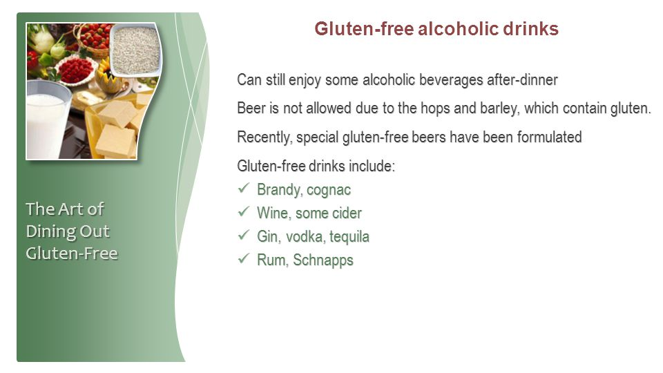 Gluten-free alcoholic drinks