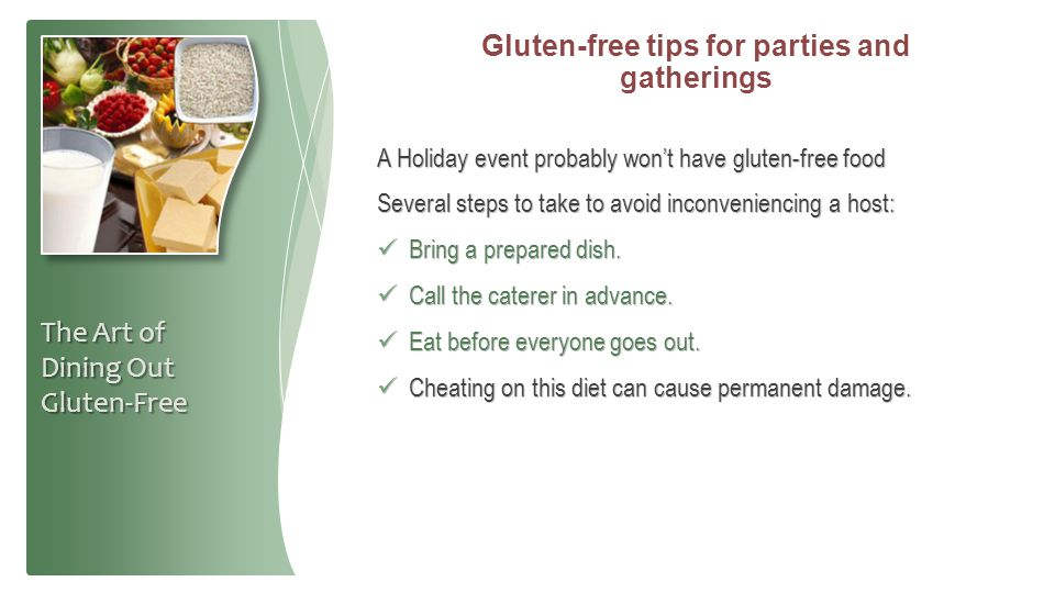 Gluten-free tips for parties and gatherings