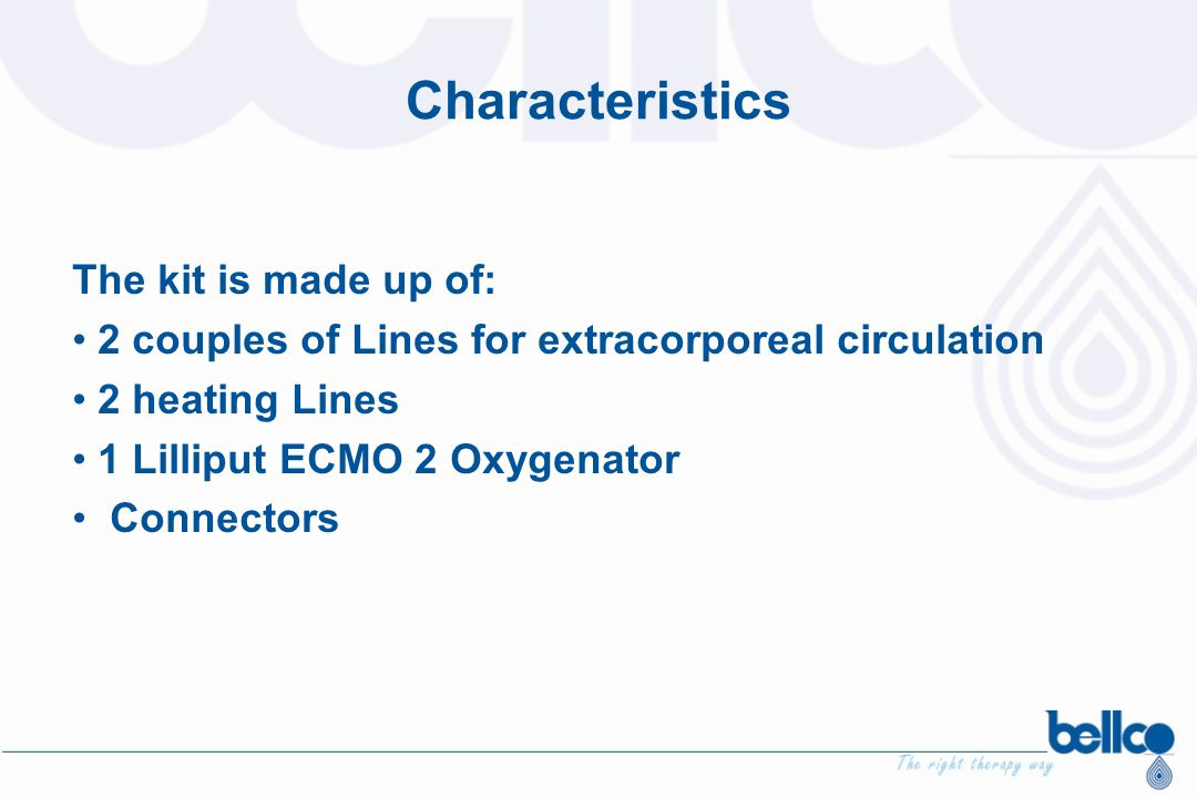 Characteristics The kit is made up of:
