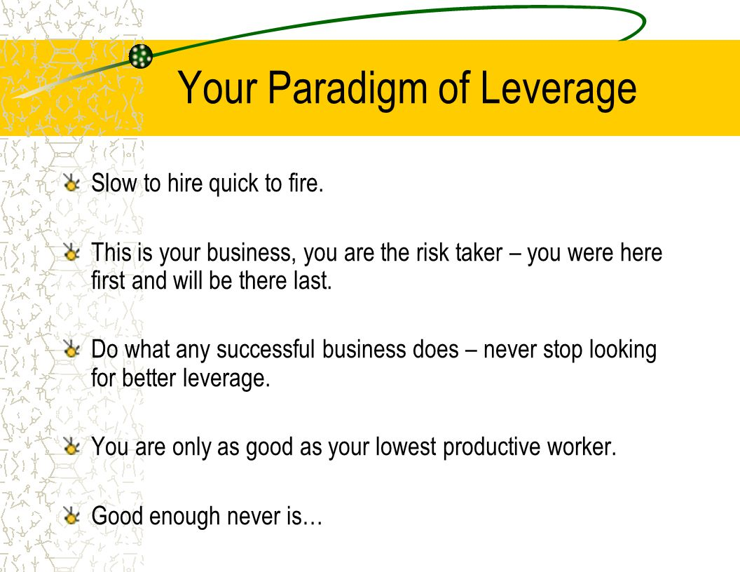 Your Paradigm of Leverage