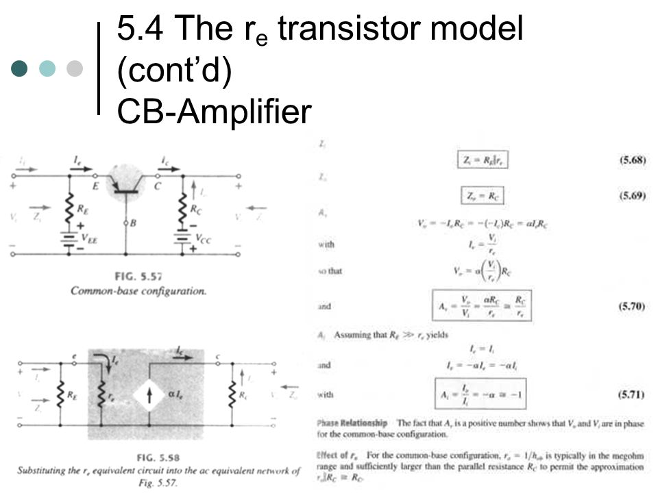 5.4 The re transistor model (cont'd) CB-Amplifier