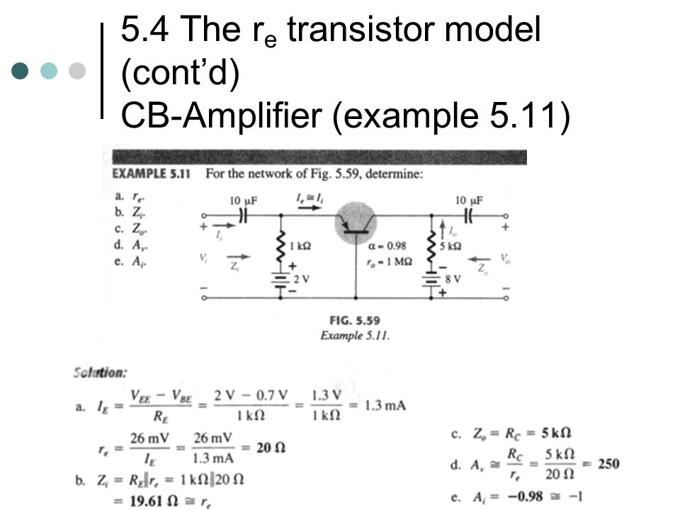 5.4 The re transistor model (cont'd) CB-Amplifier (example 5.11)