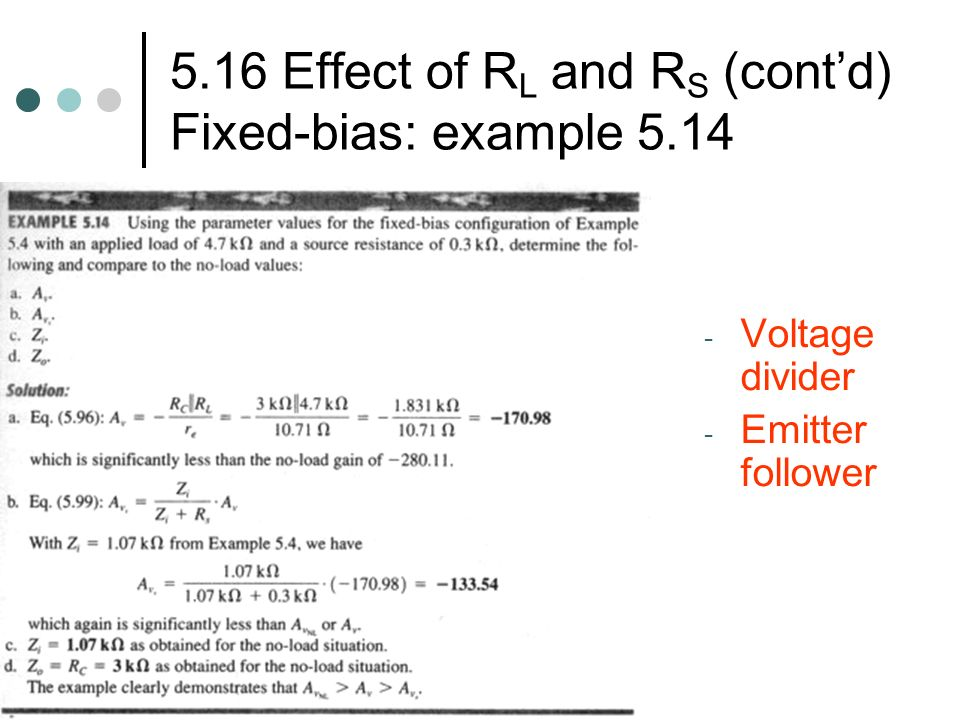 5.16 Effect of RL and RS (cont'd) Fixed-bias: example 5.14