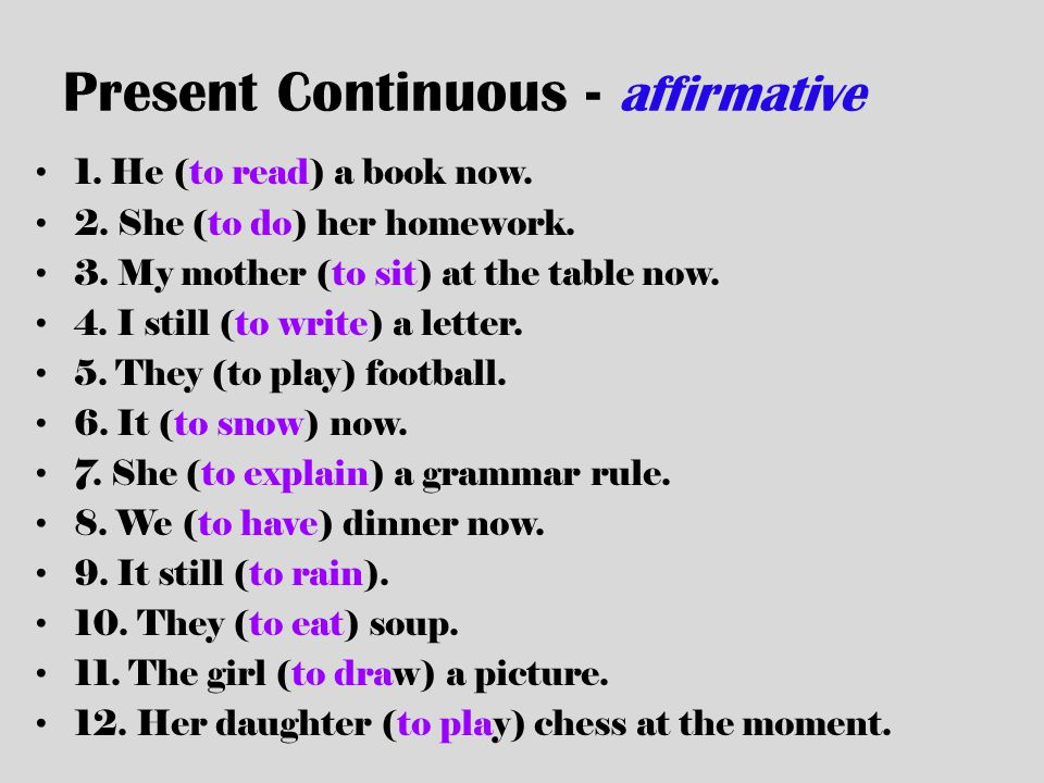 Present Continuous - affirmative