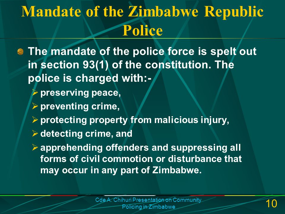 Mandate of the Zimbabwe Republic Police