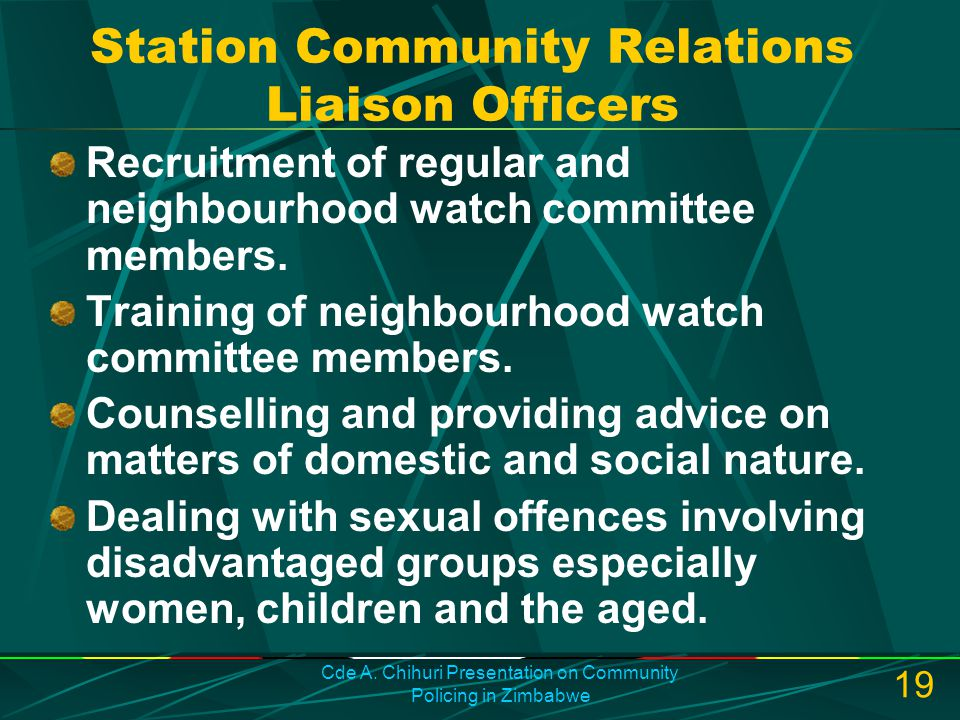 Station Community Relations Liaison Officers