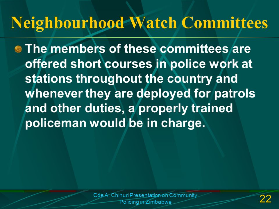 Neighbourhood Watch Committees