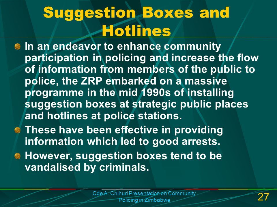 Suggestion Boxes and Hotlines