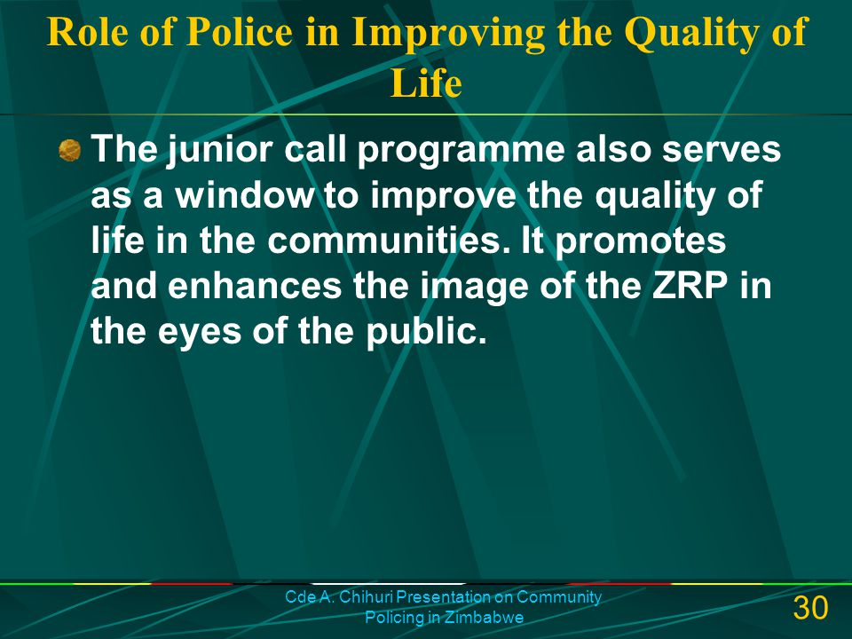 Role of Police in Improving the Quality of Life