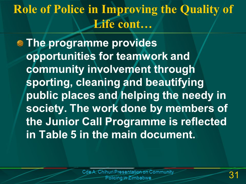 Role of Police in Improving the Quality of Life cont…
