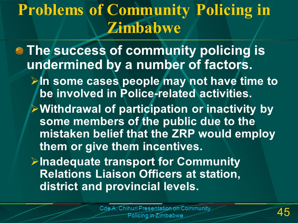 Problems of Community Policing in Zimbabwe