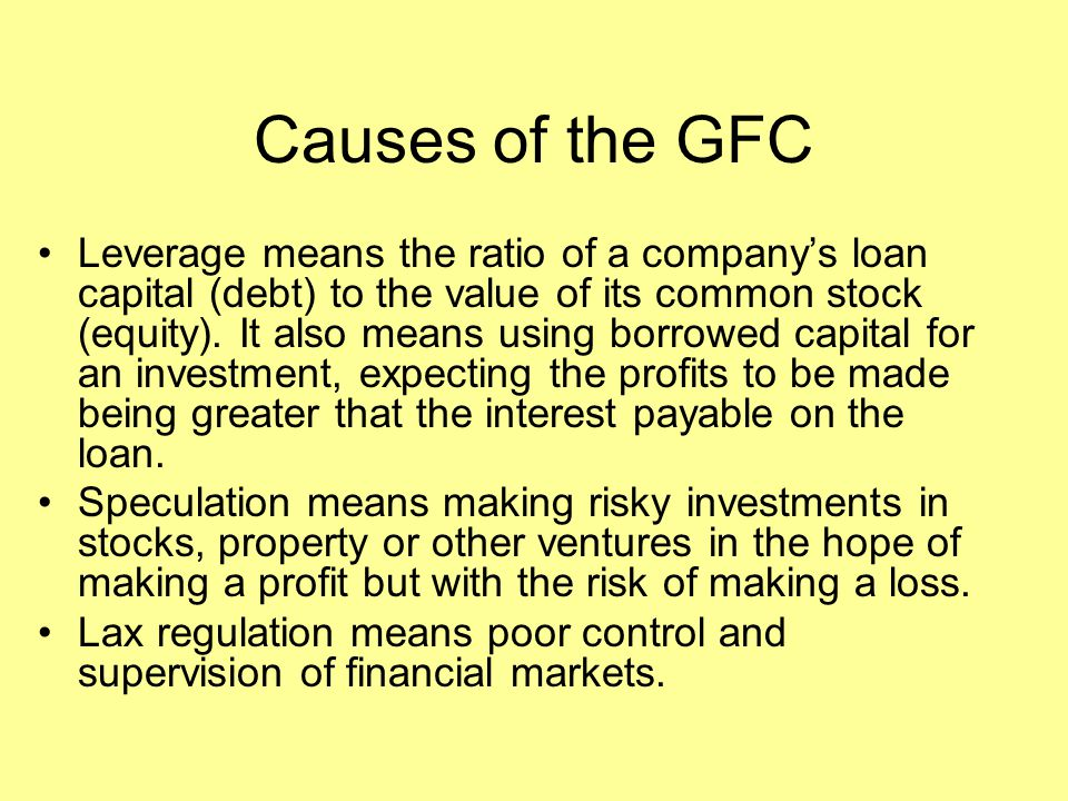 Causes of the GFC