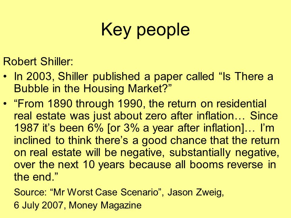 Key people Robert Shiller:
