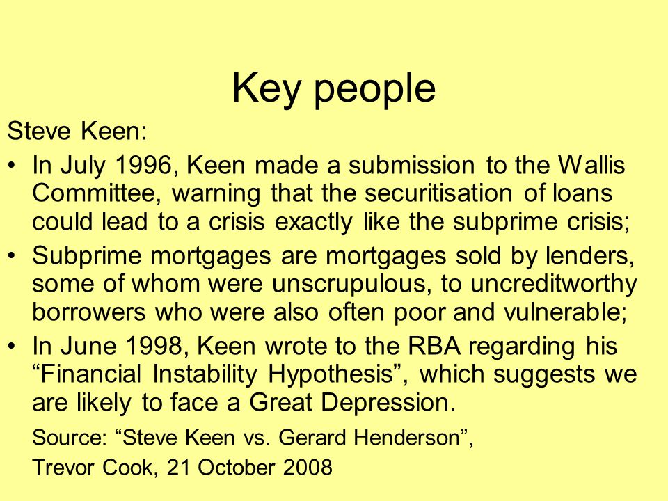 Key people Steve Keen:
