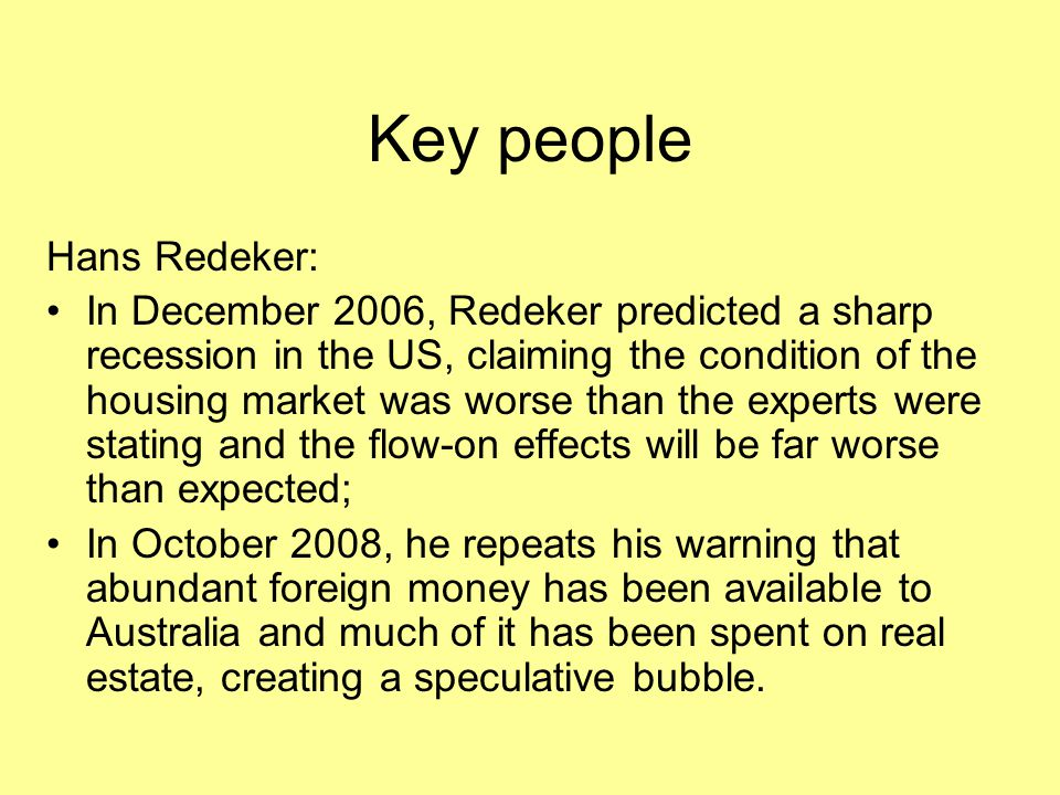 Key people Hans Redeker:
