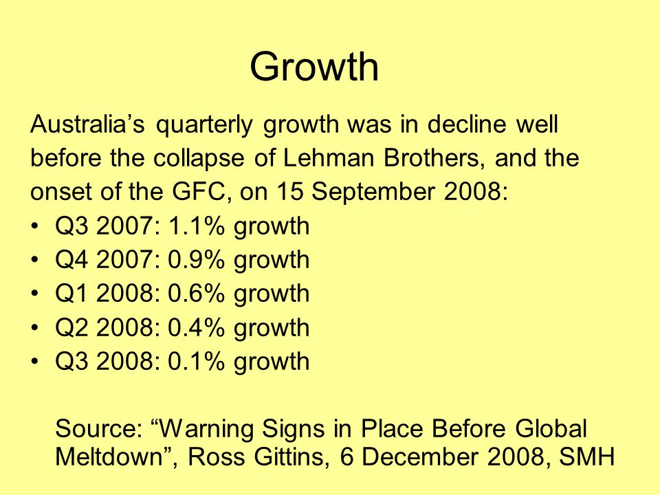 Growth Australia's quarterly growth was in decline well
