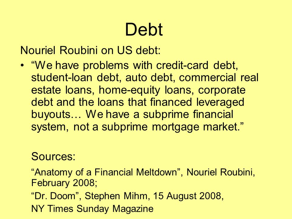 Debt Nouriel Roubini on US debt: