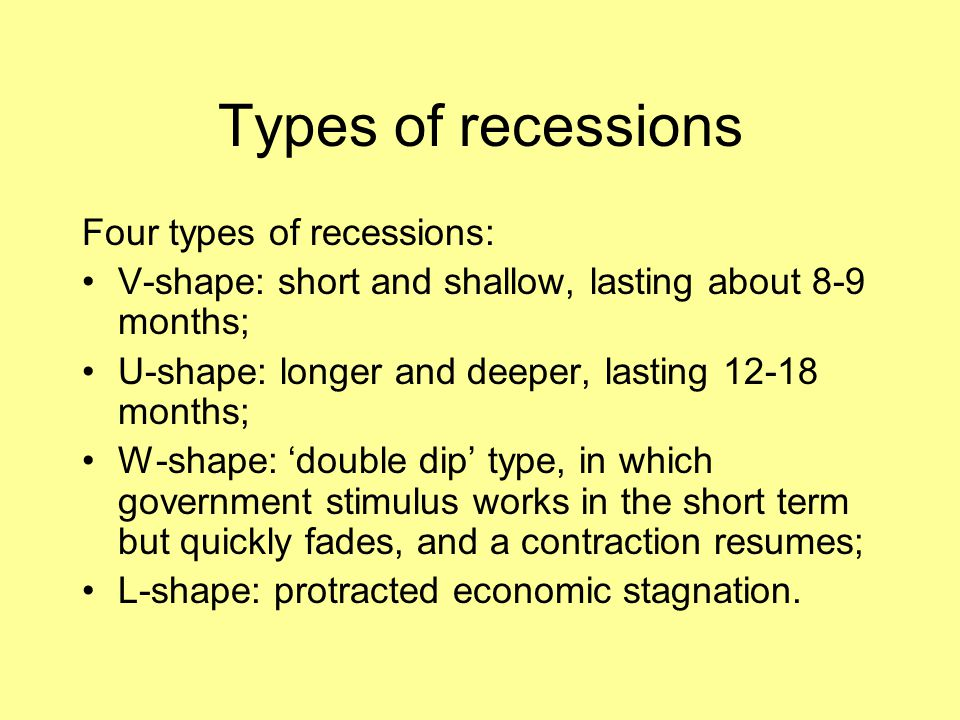 Types of recessions Four types of recessions: