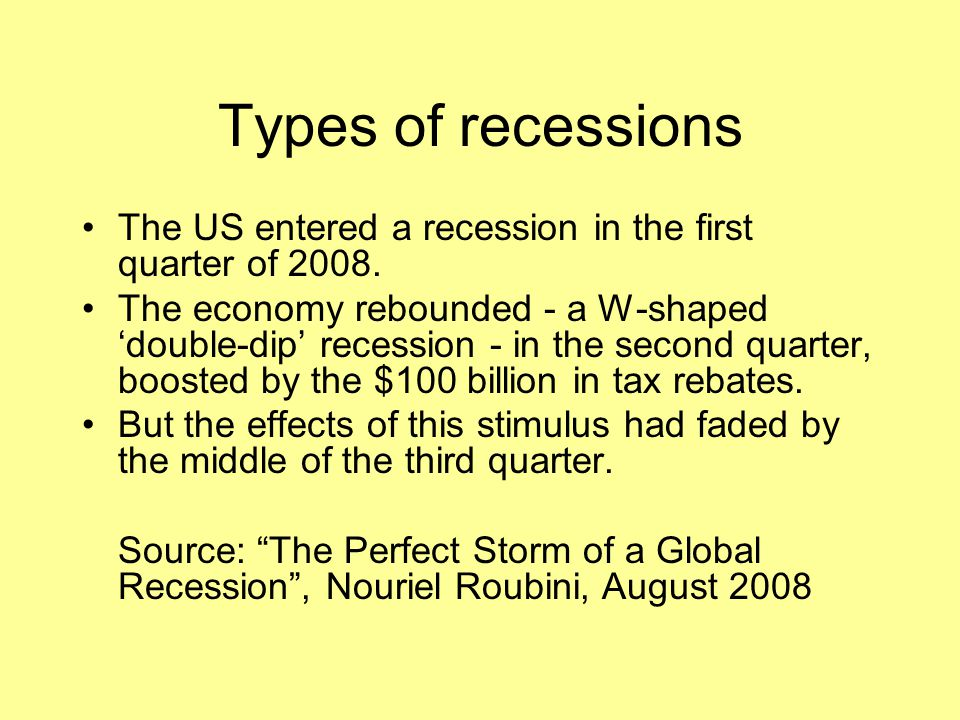 Types of recessions The US entered a recession in the first quarter of 2008.