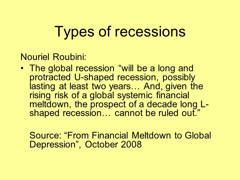 Types of recessions Nouriel Roubini: