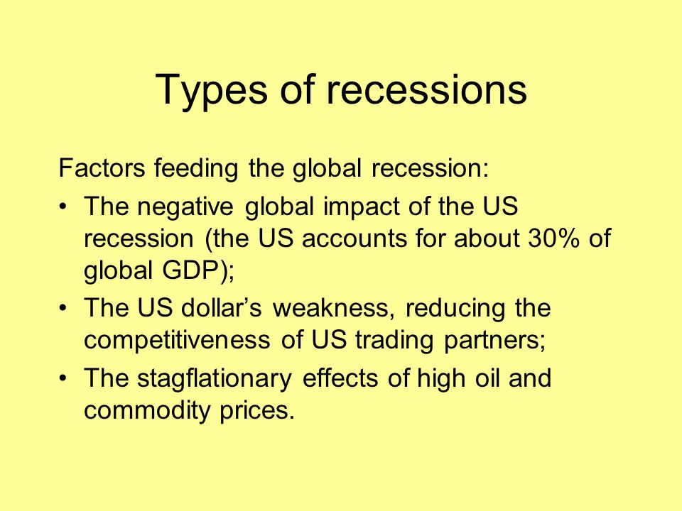Types of recessions Factors feeding the global recession: