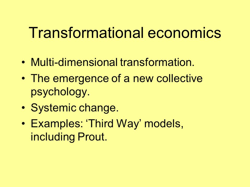 Transformational economics