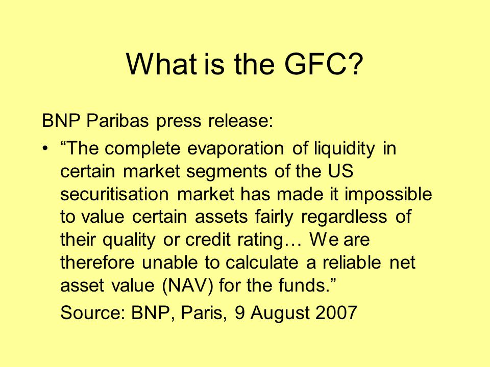 What is the GFC BNP Paribas press release: