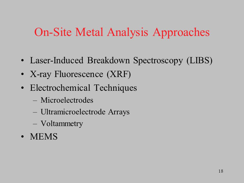 On-Site Metal Analysis Approaches