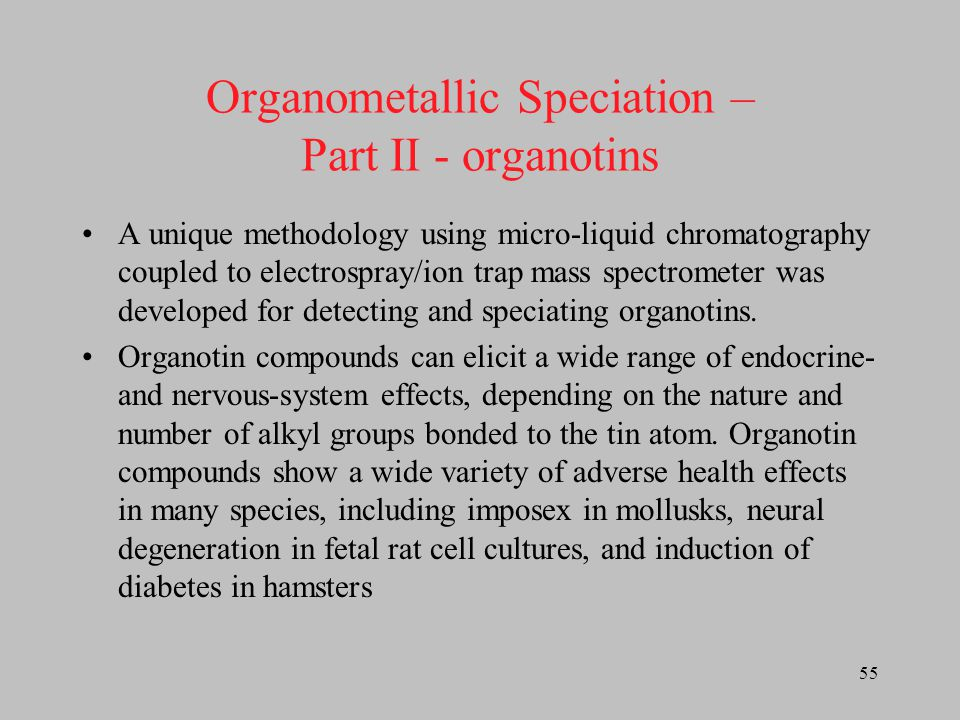 Organometallic Speciation – Part II - organotins