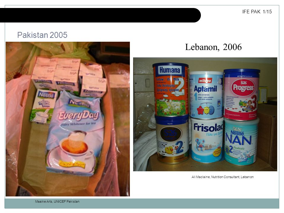 Inappropriate donations of milk products