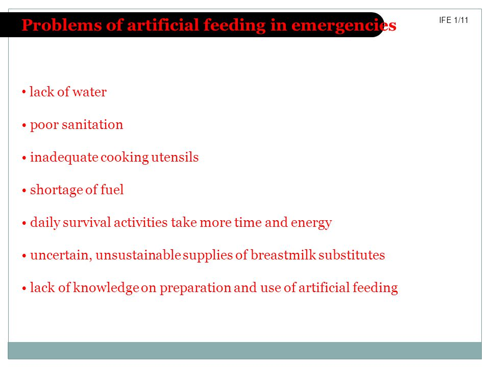 Problems of artificial feeding in emergencies