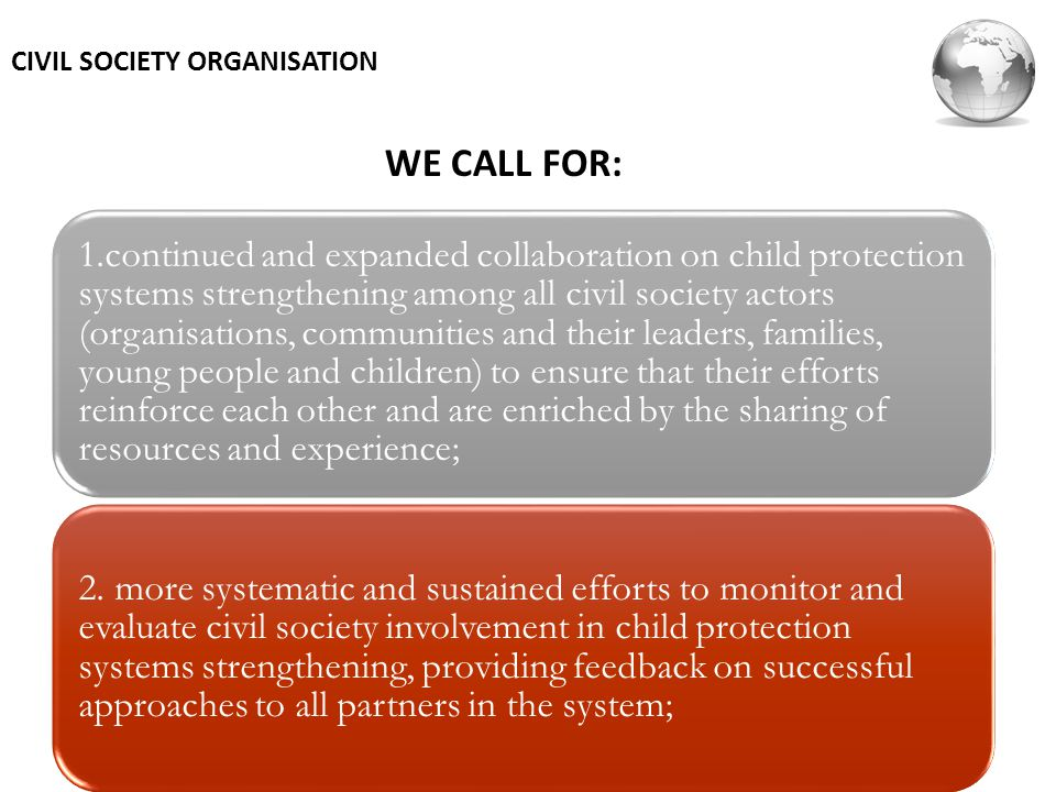 WE CALL FOR: CIVIL SOCIETY ORGANISATION