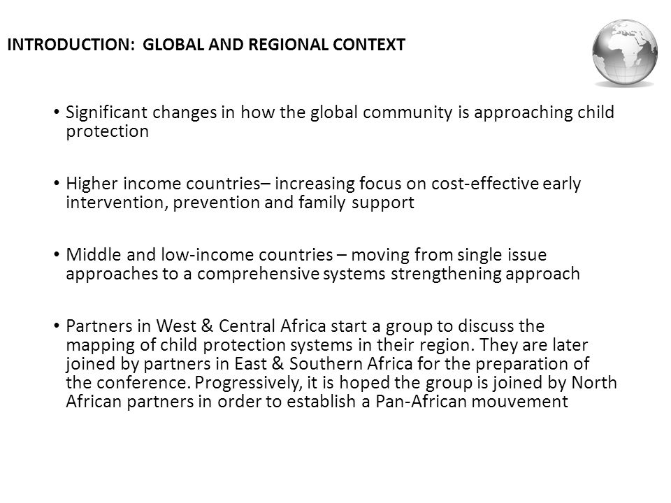 INTRODUCTION: GLOBAL AND REGIONAL CONTEXT