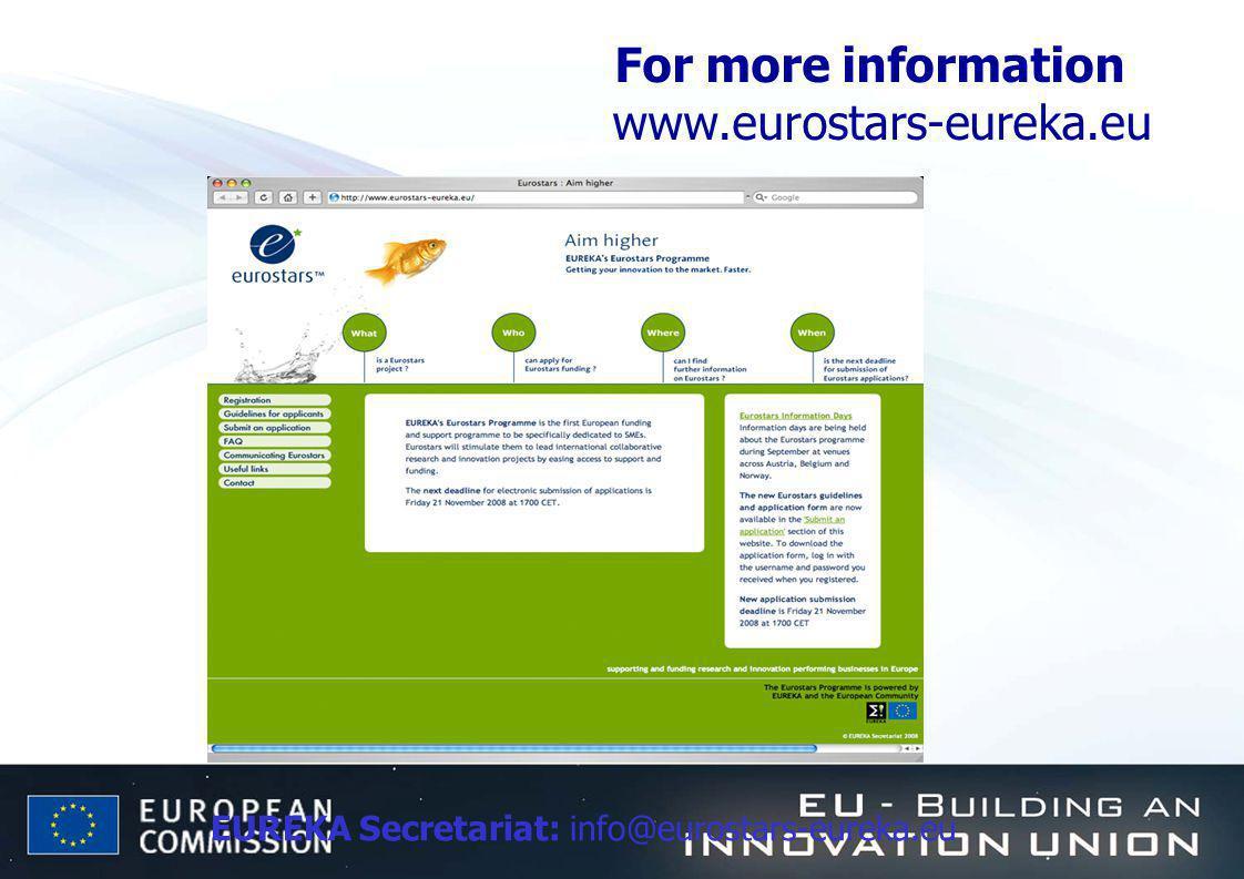 EUREKA Secretariat: info@eurostars-eureka.eu