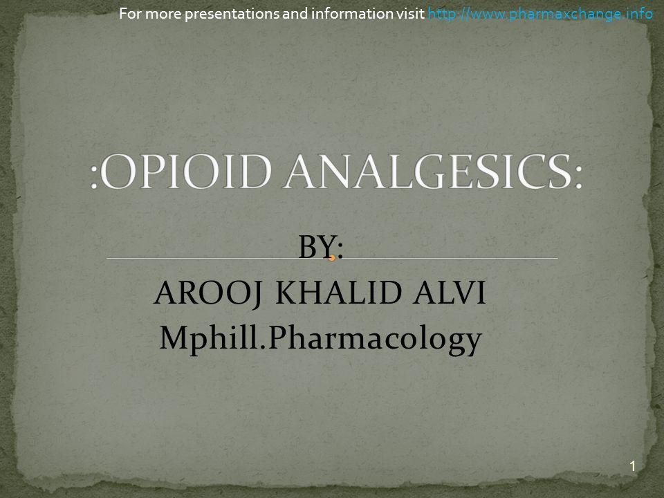 BY: AROOJ KHALID ALVI Mphill.Pharmacology