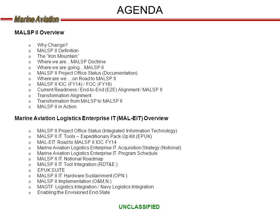 AGENDA MALSP II Overview