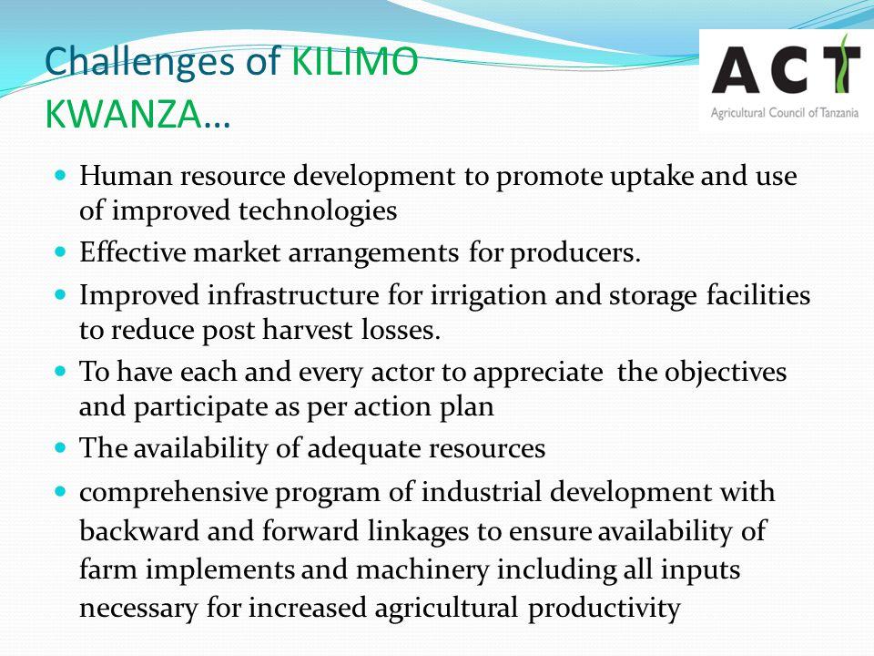 Challenges of KILIMO KWANZA…