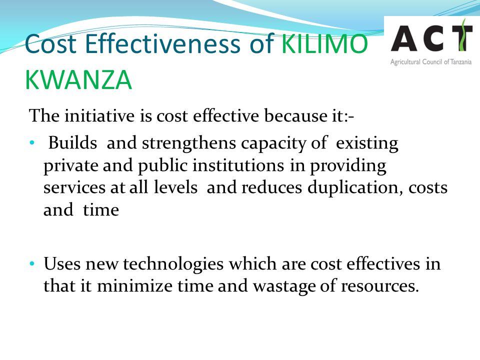 Cost Effectiveness of KILIMO KWANZA