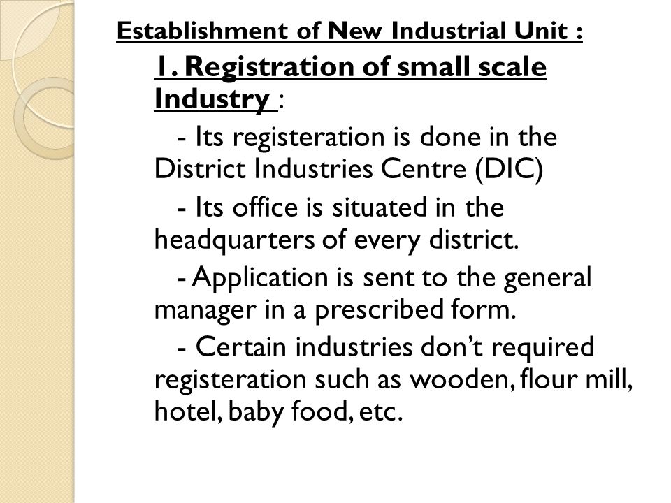 1. Registration of small scale Industry :