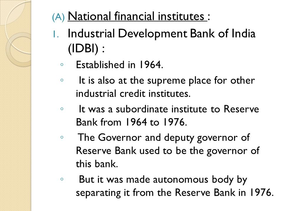 National financial institutes :