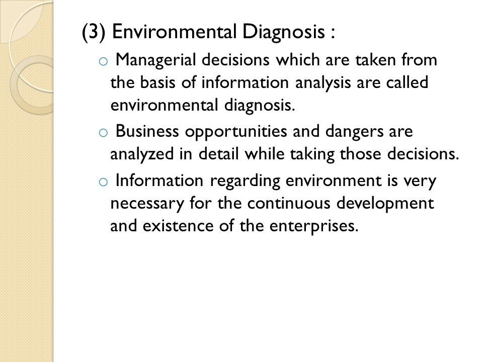 (3) Environmental Diagnosis :