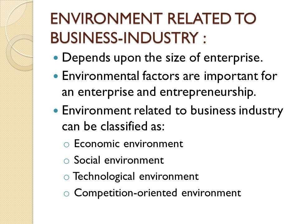 ENVIRONMENT RELATED TO BUSINESS-INDUSTRY :